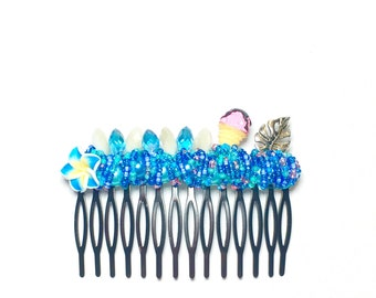 Extra Large Blue Tropical and Ice Cream Cone Comb