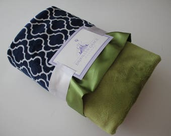Minky Baby Blanket in Navy and White Trellis with Kiwi Green Spa Minky and Coordinating Satin Trim - Baby, Crib Bedding, Nursery