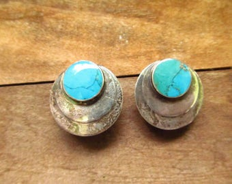 Vintage Turquoise Earrings - Silver and Turquoise Earrings - Southwest Turquoise Earrings