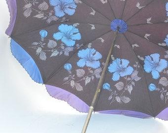 Vintage 1950's Violet Nylon Parasol Umbrella with Brass Embossed Handle