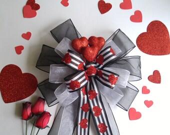Black White Red Valentine's Decor Bow-Valentines Day Decoration-Valentine Wreath Bow-Valentines Day-Heart Bow-Red White Valentines