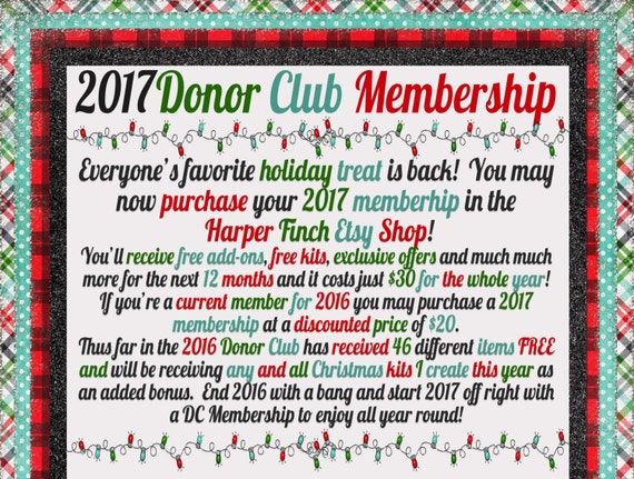 NO COUPONS - 2017 Donor Club Membership