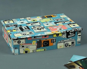 Box desk, jewelry boxes, photo box, box with fabric covered boxes for postcards, boxes for petrol, photographers, photo