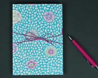 Notebook can be personalised, bullet journal, diary of dreams, fabric-based notebook, diary, notebook, turquoise white with leather strap