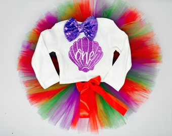 Little Mermaid First Birthday Outfit | Candy Cane Tutu Birthday | Seashell 1st Birthday Outfit Girl | Girls Mermaid Outfit