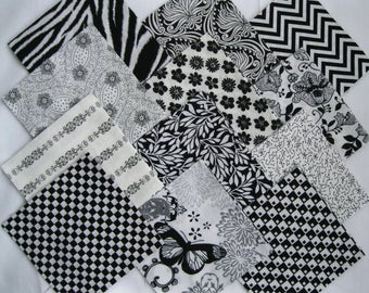 "BLACK & WHITE  5"" Fabric Quilt Squares 24 Pre-Cuts Charms Blocks"