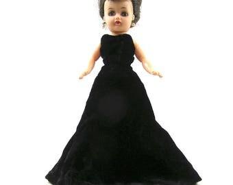 Vintage 1950s Black Velvet Doll Dress for Little Miss Revlon Jill or Similar 10 1/2 inch Doll Handmade