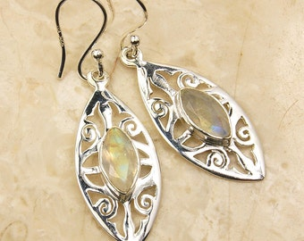 Ice Princess Moonstone Earrings & Sterling Silver Earrings AE734 The Silver Plaza