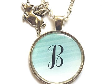 Personalized Initial Flying Pig Necklace Flying Pig Jewelry
