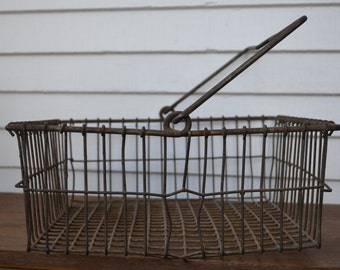 Vintage Square Wire Basket with Handle
