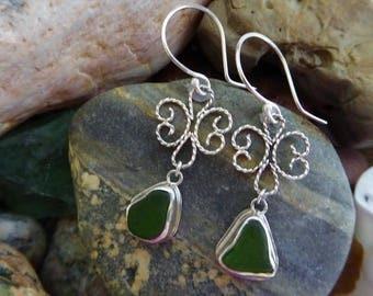 Sterling Sea Glass earrings, Beach Glass earrings, green sea glass, filigree earrings, Maine Sea Glass, Ocean Jewelry, Gift Idea!