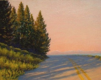Yellowstone 'Lakeshore Drive' - original Landscape Painting - highway - trees - 8x10 - sky - pink - sunset - plein air - western decor