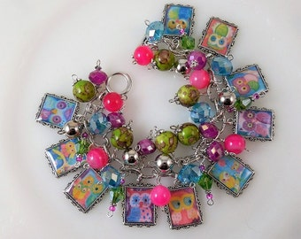 Colorful Owl Charm Bracelet /Chunky Beaded/ Cha Cha Bracelet/ Picture Charms/ Altered Art Charms
