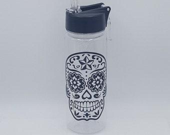Day Of The Dead, Water Bottle, Sugar Skull, Custom Water Bottle, Sugar Skull Decor, Sugar Skull Gift, Mexican Folk Art, Dia De Los Muertos