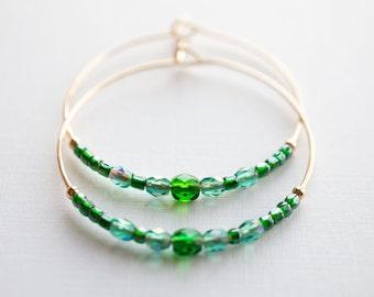 midsummer / emerald green and gold hoop earrings