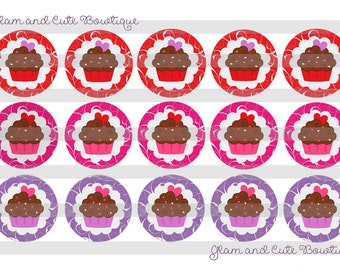 "Valentine's Day Cupcakes INSTANT DOWNLOAD Bottle Cap Images 4x6 sheet 1"" circles"
