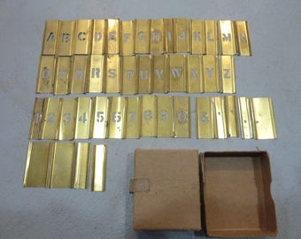 Vintage Brass Stencils Box ABC 123 Letters Numbers (#420)