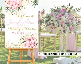 Wedding Welcome Sign - Floral Sparkle Bride & Groom Sign- Reception Sign Printed Wedding Ceremony Sign, Foam Board Sign, Poster Sign