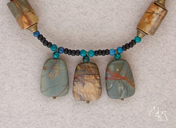 "Jewelry set ""Nature patterns"". Boho necklace, cool earrings and ethnic bracelet. landscape jasper. Great gift for her"