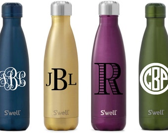 S'well Water Bottle with Personalized Custom Monogram or Name (Glitter, Spectrum, Galaxy, Gem, and Metallic Collections)