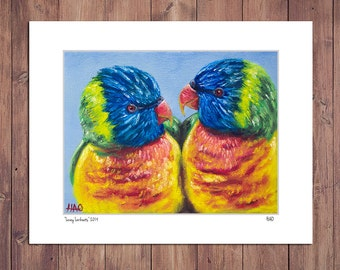 Bird Print from Original Painting, Lorikeets, Matted to fit 11x14 Frame