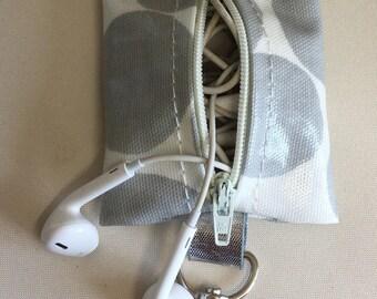 Earbud case,Headphone case,Earphone organiser,Earbud keychain,large grey spotty oilcloth