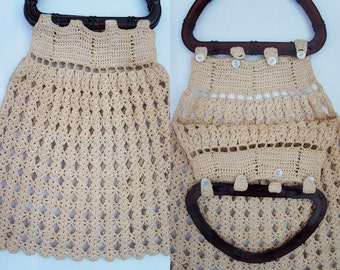 70s crochet vintage handbag. Handmade retro handbag. New. No signs of use.