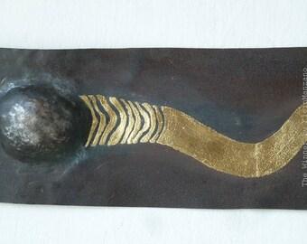 Metal relieve, Wall sculpture, Sperm-cell, Metal wall art, Klimt style, Corten steel, Gold plated, the Winner, by KleinManzano