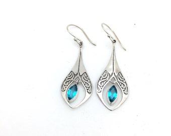 Semi-Precious Blue Topaz Earrings