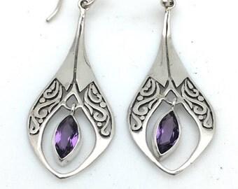 Semi precious amethyst earrings