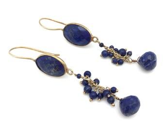 Blue Lapis and Gold Vermeil Drop Earrings
