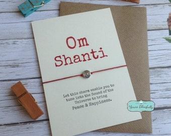 Yoga Bracelet - Om Shanti Friendship Bracelet with Ornate Round Charm  - Namaste, Meditation, Yoga Greeting Card, Handmade