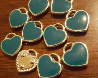 Enameled heart charms