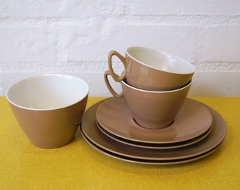1960s' melamine cup and saucer set with plates and sugar bowl