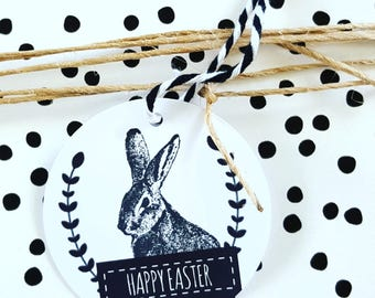 Vintage Rabbit Happy Easter Gift Tags