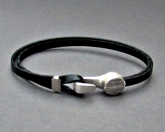Nautical Hook, Mens Leather Dainty Bracelet, Mens Gift, Boyfriend Gift, Customized On Your Wrist
