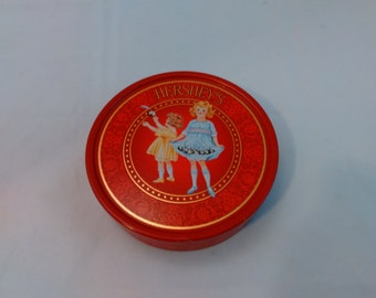 Vintage Hershey's red tin box with children
