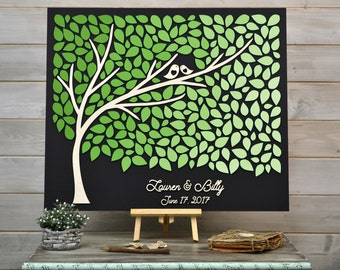 Custom colors 3D Wedding guest book alternative tree wood leaves Rustic wedding guest book Greenery guestbook wooden Wedding Tree of life