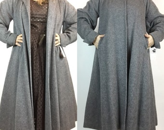 Vintage 40s 50s Long Grey Wool Swing Coat with Persian Lamb Collar, Size L XL