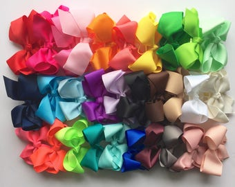 30 colors, girls bows, Hair bows for girls, PICK 5, girls bows, 4.5 inch bow, big hair bows, toddler hair bows, hair clips for girls,