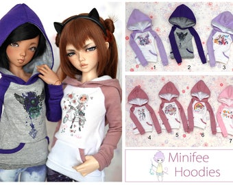 Minifee Printed Hoodie - Pink & Purple Set *Choose Your Style*