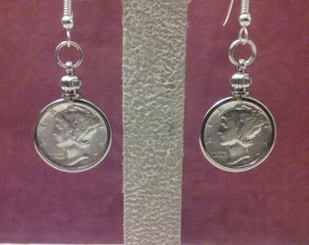 1937 Mercury dime earrings