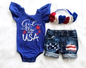 4th of July Girl Outfit God Bless the USA Outfit Baby Girl 4th of July Leotard July 4th Girl Outfit Memorial Day Baby Girl Outfit