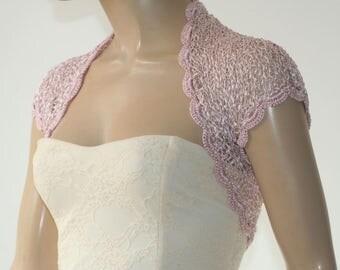 Dusty pink kntting crochet shrug/ Wedding bolero shrug//Bolero jacket/Lace shrug/Bridal shoulders cover/Bridesmaids Cover up Bolero