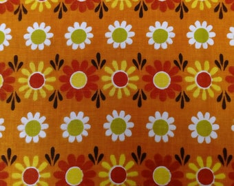 1960s Vintage Orange Funky Daisy cotton Barkcloth fabric