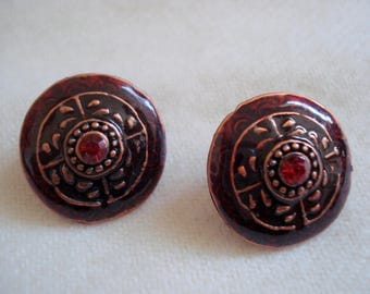 Burgandy Wine Pierced Earrings Circles - Enamel with Crystal Centers A++ Condition Never Worn #274