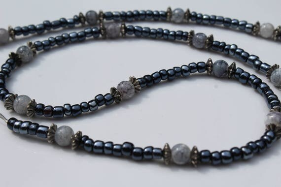 Gray Eyeglass Chain, Slate Blue Beaded Chain for Glasses, Grey Holder for Eyewear, Small Bead Minimalist Sunglasses Holder