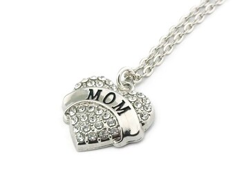 Mom Rhinestone Heart Necklace, Mom Necklace, Mom Rhinestone Necklace, Rhinestone Heart Necklace, Heart Necklace