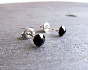 Black crystal stud earrings, Swarovski post earrings, jet black Swarovski Elements, surgical steel earrings, 5mm studs, small earrings