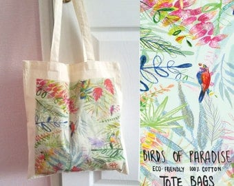 Birds of Paradise 100% Cotton Tote Bag - Design on both Sides - Eco Friendly - Reusable
